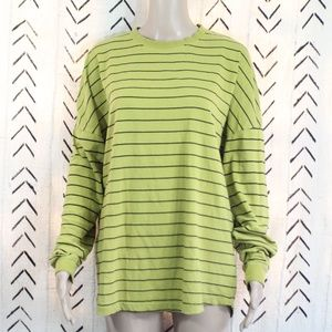 Cotton On Loose Fit Striped Neon Yellow Shirt XS